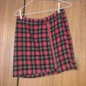 Plaid skirt (Pink/Green/White) with zipper accent